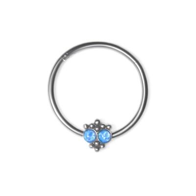 Nipple Clicker Earring with Opal gemstones - Surgical Steel (SKU: PN2508SSH)