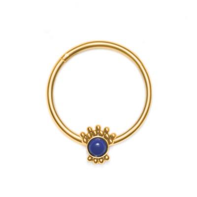 Nipple Clicker Earring with Lapis Lazuli gemstone - Surgical Steel (SKU: PN2520SSH)