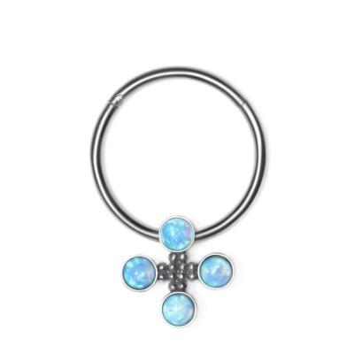 Nipple Clicker Earring with Opal gemstones - Surgical Steel (SKU: PN2529SSH)