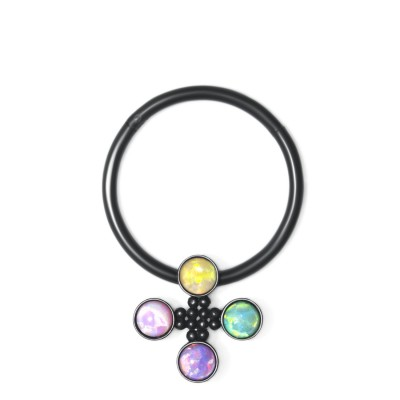 Nipple Clicker Earring with Opal gemstones - Surgical Steel (SKU: PN2530SSH)