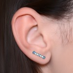 Ear Climber Earring with Opals gemstones - Surgical Steel (SKU: PN2565SSH)