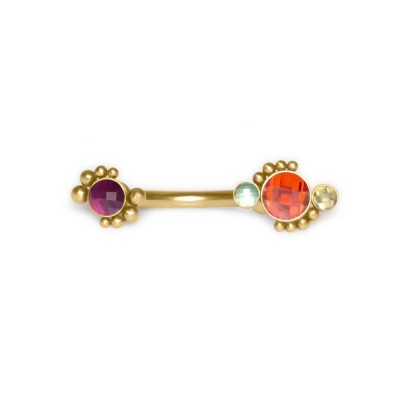 Belly Button Ring with CZ and Ruby gemstones - Non-Dangling - Surgical Steel (SKU: PN2776SSH)