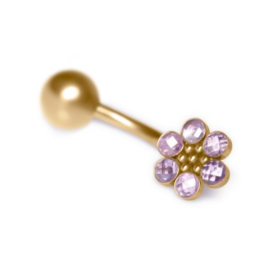 Belly Button Ring with CZ gemstones – Non-Dangling - Surgical Steel (SKU: PN2786SSH)