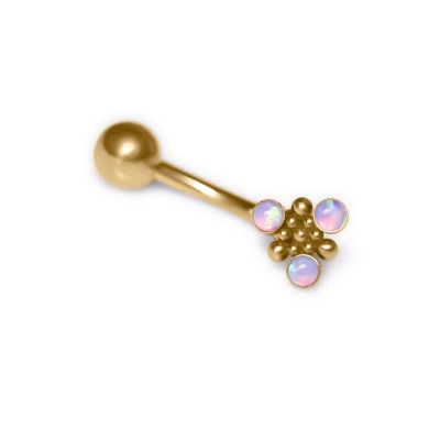 Belly Button Ring with Opal gemstones - Non-Dangling - Surgical Steel (SKU: PN2793SSH)