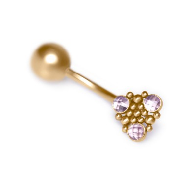 Belly Button Ring with CZ gemstone - Non-Dangling - Surgical Steel (SKU: PN2797SSH)
