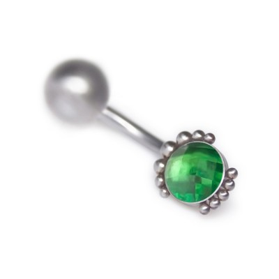 Belly Button Ring with CZ gemstone - Non-Dangling - Surgical Steel (SKU: PN2834SSH)