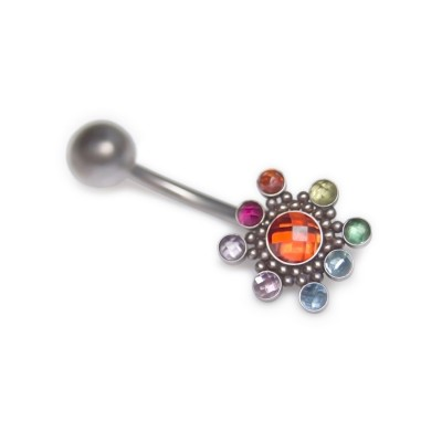 Belly Button Ring with CZ and Ruby gemstones - Non-Dangling - Surgical Steel (SKU: PN2859SSH)