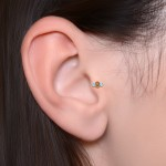 Tragus Labret Stud with Opals gemstones - Internally Threaded - Surgical Steel (SKU: PN3190-1SSH)