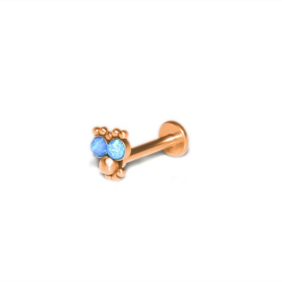 Lip Labret Jewelry with Opal gemstones - Surgical Steel (SKU: PN3193-2SSH)