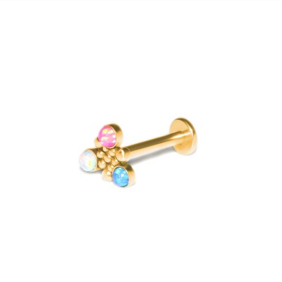 Lip Labret Jewelry with Opal gemstones - Surgical Steel (SKU: PN3273-2SSH)