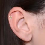 Tragus Labret Stud with Opal gemstone - Internally Threaded - Surgical Steel (SKU: PN3273-1SSH)