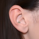 Conch Labret Stud with CZs gemstones - Internally Threaded - Surgical Steel (SKU: PN3274-1SSH)