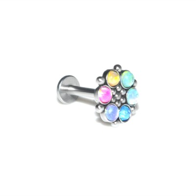 Lip Labret Jewelry with Opal gemstones - Surgical Steel (SKU: PN3275-2SSH)