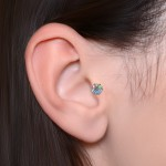 Tragus Labret Stud with Opals gemstones - Rainbow - Internally Threaded - Surgical Steel (SKU: PN3275-1SSH)
