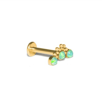 Lip Labret Jewelry with Opal gemstones - Surgical Steel (SKU: PN3287-2SSH)