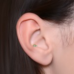 Opal Internally Threaded Surgical Steel Labret Stud - Tragus earring, cartilage stud, helix piercing, conch jewelry