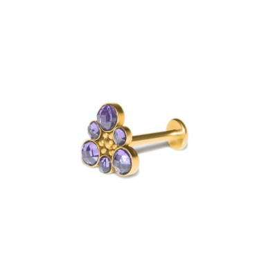 Internally Threaded Labret Stud - Surgical steel lip piercing, monroe earring with CZ, medusa jewelry