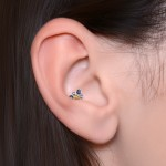 Cartilage earring Stud - Labret with CZ gemstone - Internally Threaded - Surgical Steel (SKU: PN3311-1SSH)