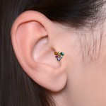 Tragus Labret Stud with CZs gemstones - Internally Threaded - Surgical Steel (SKU: PN3312-1SSH)