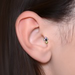 Conch Labret Stud with Opals gemstones - Internally Threaded - Surgical Steel (SKU: PN3314-1SSH)