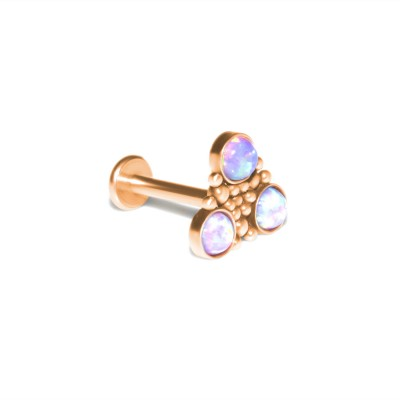 Conch Labret Stud with Opals gemstones - Internally Threaded - Surgical Steel (SKU: PN3319-1SSH)