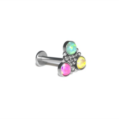 Conch Labret Stud with Opals gemstones - Internally Threaded - Surgical Steel (SKU: PN3320-1SSH)