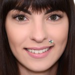 Lip Labret Jewelry with Opal gemstones - Surgical Steel (SKU: PN3320-2SSH)