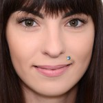 Lip Labret Jewelry with CZ gemstone - Surgical Steel (SKU: PN3332-2SSH)