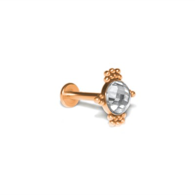 Conch Labret Stud with CZ gemstone - Internally Threaded - Surgical Steel (SKU: PN3333-1SSH)