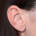 Conch Labret Stud with CZ gemstone - Internally Threaded - Surgical Steel (SKU: PN3333-1SSH)