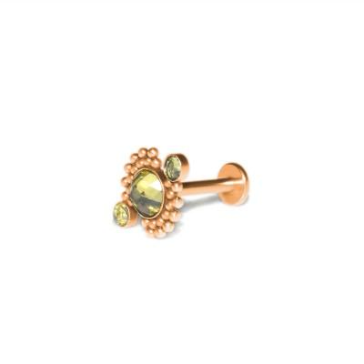 Lip Labret Jewelry with CZ gemstones - Surgical Steel (SKU: PN3337-2SSH)