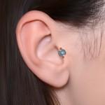 Tragus Labret Stud with CZs gemstones - Internally Threaded - Surgical Steel (SKU: PN3338-1SSH)