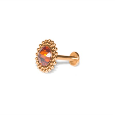 Lip Labret Jewelry with CZ gemstone - Surgical Steel (SKU: PN3344-2SSH)