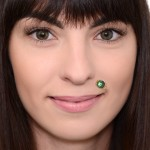 Lip Labret Jewelry with CZ gemstone - Surgical Steel (SKU: PN3379-2SSH)