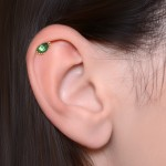 Tragus Labret Stud with green CZ gemstone - Internally Threaded - Surgical Steel (SKU: PN3379-1SSH)