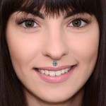 Lip Labret Jewelry with CZ gemstones - Surgical Steel (SKU: PN3380-2SSH)