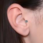 Tragus Labret Stud with CZ gemstone - Internally Threaded - Surgical Steel (SKU: PN3380-1SSH)