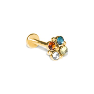 Conch Labret Stud with CZs gemstones - Internally Threaded - Surgical Steel (SKU: PN3381-1SSH)