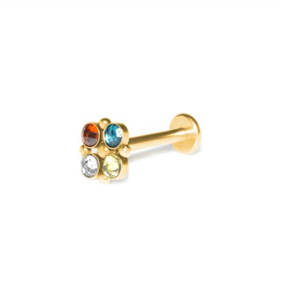 Lip Labret Jewelry with CZ gemstones - Surgical Steel (SKU: PN3381-2SSH)