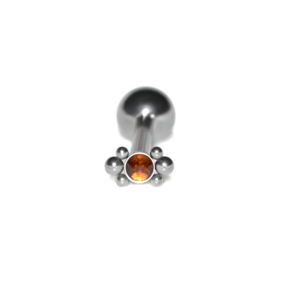 Tongue Barbell with CZ gemstone - Surgical Steel (SKU: PN3414SSH)