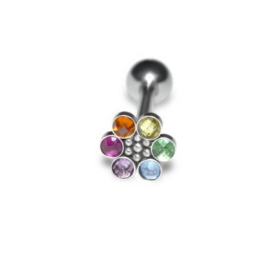 Tongue Barbell with CZ and Ruby gemstones - Surgical Steel (SKU: PN3471SSH)
