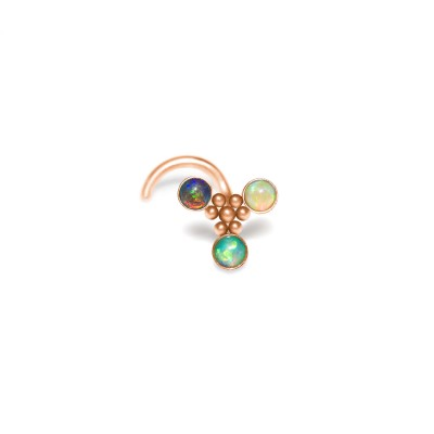 Nose Stud with Opal gemstones - Surgical Steel (SKU: PN0929SSH)
