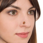 Nose Stud with CZ gemstone - Surgical Steel (SKU: PN0963SSH)