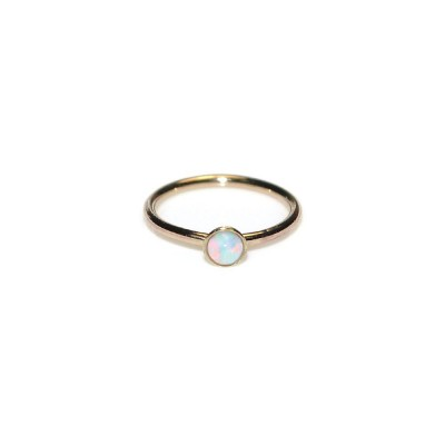 Tragus Ring with 2mm Opal gemstone - Sterling Silver either or Rose Gold filled or Gold filled (SKU: PN0019P)