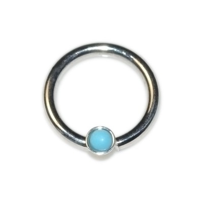 Septum Ring with Turquoise 2mm gemstone - Sterling Silver either or Rose Gold filled or Gold filled (SKU: PN0024P)