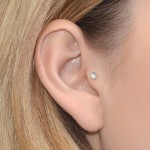 Helix Stud Earring with 3mm Topaz gemstone - Sterling Silver either or Gold filled or Rose Gold filled (SKU: PN0033P)