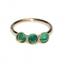 Nose Ring Hoop with Emerald gemstones - Sterling Silver either or Rose Gold or Gold - PN0037P