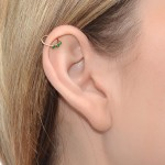 Nose Ring Hoop with Emerald gemstones - Sterling Silver either or Rose Gold or Gold (SKU: PN0037P)