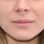 Septum Ring with Opal 2mm gemstones - Sterling Silver either or Rose Gold filled or Gold filled (SKU: PN0039P)
