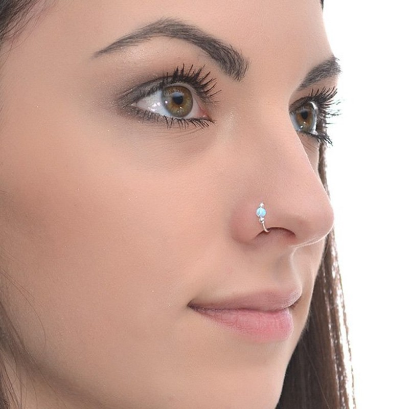 Nose Ring Hoop With Opal Gemstone Pn0065p Buy At Low Price